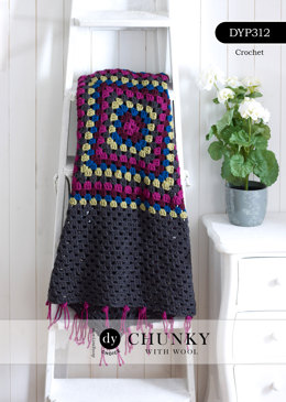 Granny Square Blanket with Polka-Dot Edging in DY Choice Chunky With Wool - DYP312