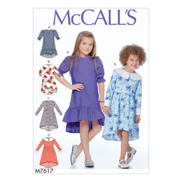 McCall's Children's/Girls' High-Low Dresses with Collar and Sleeve Variations M7617 - Sewing Pattern