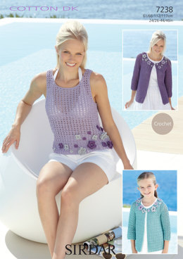 Vest and Cardigan in Sirdar Cotton DK - 7238 - Downloadable PDF