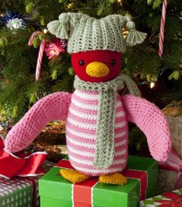 Huggable Penguin in Red Heart Super Saver Economy Solids - LW2660