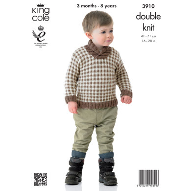 Girls' Sweater and Cardigan in King Cole Value Baby DK - 3910