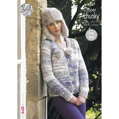 V & Round Neck Cardigans in King Cole Super Chunky - 4287 - Downloadable PDF