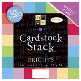 """American Crafts DCWV Single-Sided Cardstock Stack 12""""X12"""" 58/Pkg - Brights White Core, 29 Solid Colors/2ea"""