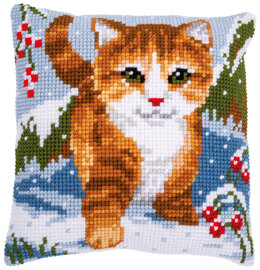 Vervaco Cat in the Snow Cushion Cross Stitch Kit