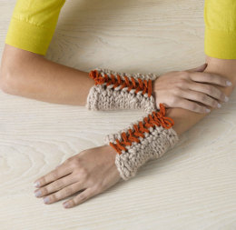 Laced Up Wristers in Lion Brand Vanna's Choice and Wool-Ease Thick & Quick - 90700AD