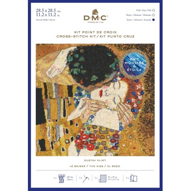 DMC Gustav Klimt - The Kiss (includes Étoile) Cross Stitch Kit - 30cm x 20cm