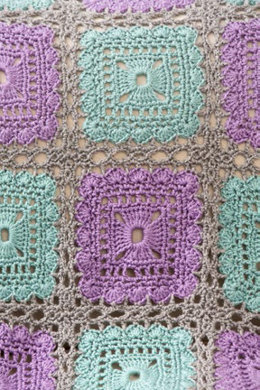 Lacy Squares Throw in Red Heart Soft - LW3882EN - Downloadable PDF