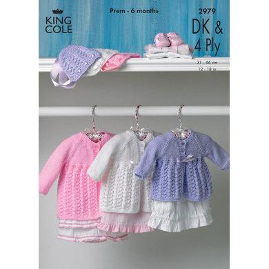 Matinee Coat and King Cole Big Value Baby DK & 4 Ply - 2979