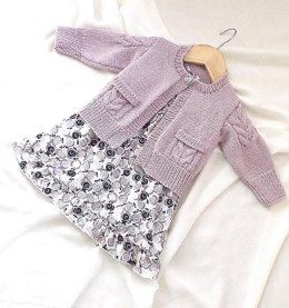 Child's Cardigan with cable detail on sleeves and pockets - P065