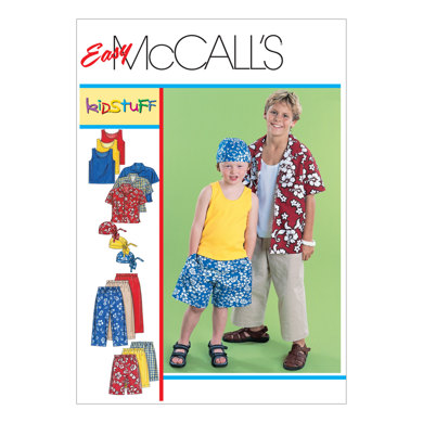 McCall's Children's/Boys' Shirt, Tank Top, Pull-On Cropped Pants, Pull-On Shorts and Headwrap M6099 - Sewing Pattern