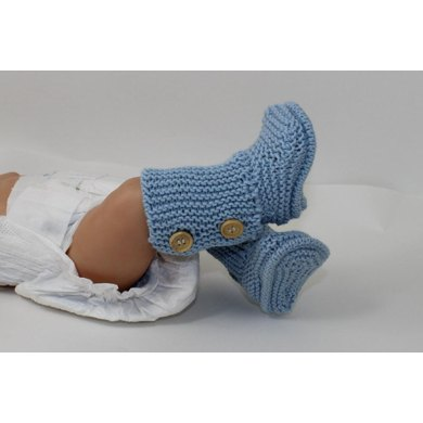 Free Knitted Chicken Pattern : 2 Button Big New Baby 4 Ply Booties Knitting pattern by madmonkeyknits Knit...