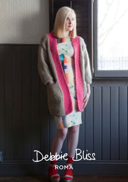 """Selene Jacket"" - Jacket Knitting Pattern For Women in Debbie Bliss Roma - DBS027"