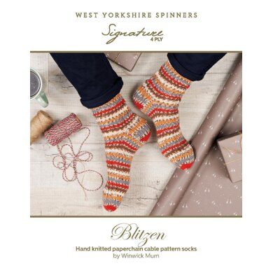 Blitzen Paperchain Cable Pattern Socks in Signature 4ply Robin in West Yorkshire Spinners - DBP0091 - Downloadable PDF