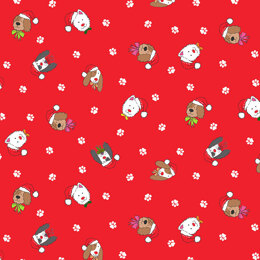 Makower Yappy Christmas - Dogs Red