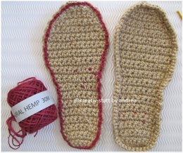 Espadrilles - Sole crocheted in rows