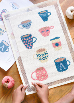 We Are Knitters Petit Point Coffee Cup Cross Stitch Kit