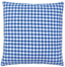 Vervaco Square Cushion Back with Zipper, Blue Check - 45cm x 45cm