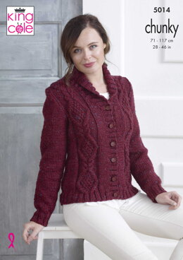 Cardigan in King Cole Chunky Tweed - 5014 - Downloadable PDF