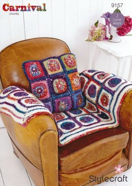 Wheel in Square Throw and Cushion in Stylecraft Carnival and Special Aran - 9157
