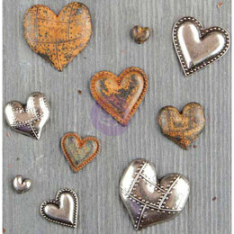 Prima Marketing Finnabair Mechanicals Metal Embellishments - Tin Hearts 10/Pkg