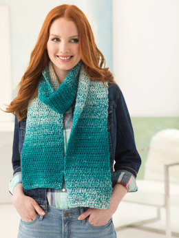 One Ball Crocheted Scarf in Lion Brand Scarfie - L50090P