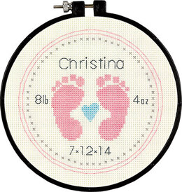 Dimensions Baby Footprints Cross Stitch Kit - 15cm x 15cm