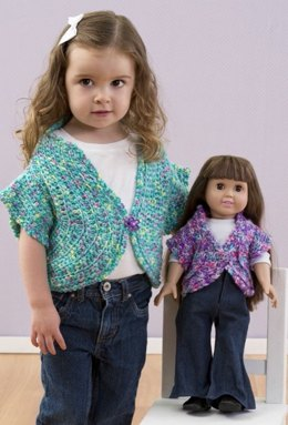 Just Like Me Doll Shrug in Red Heart Gumdrop - LW3146