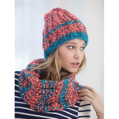 Ribbed Slouchy Hat In Lion Brand Hometown Usa Multi L40020