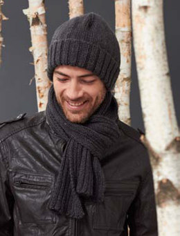 Men's Basic Hat and Scarf Set in Caron Simply Soft Heathers - Downloadable PDF