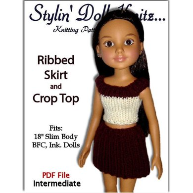 Ribbed skirt and Crop Top for BFC, Ink. dolls (18 inch slim dolls)