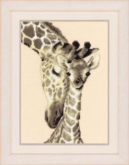 Vervaco Giraffe Family Cross Stitch Kit - 19cm x 28cm