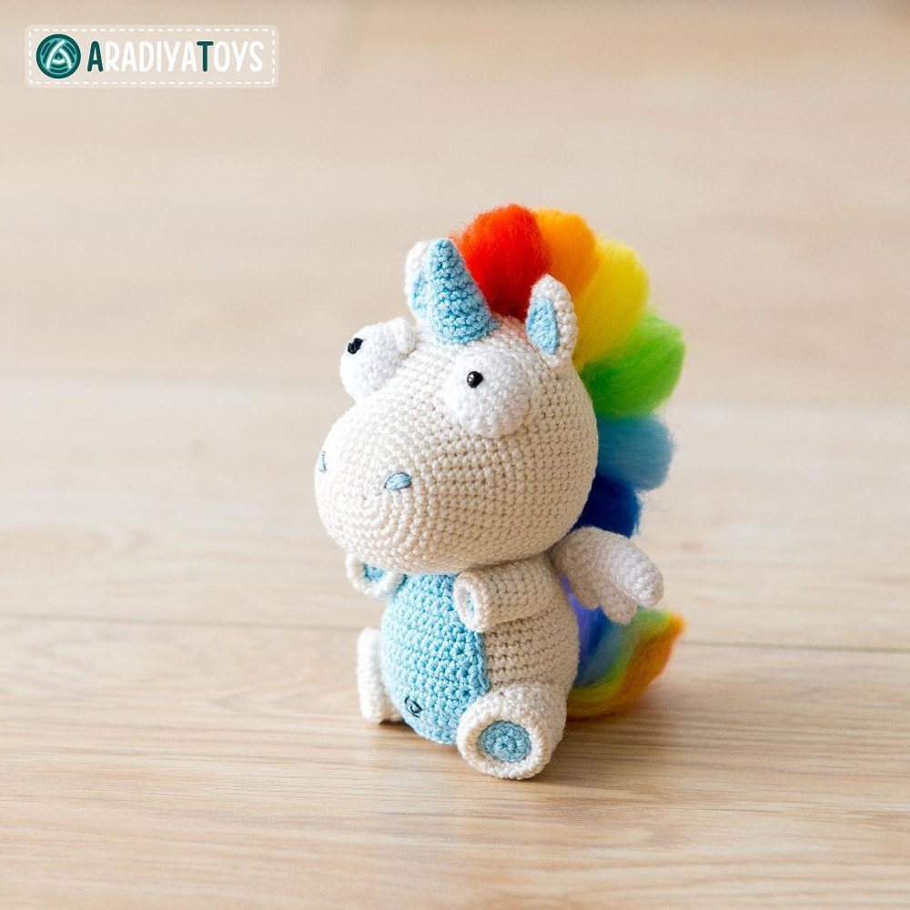 Unicorn Amigurumi Yarn Yard : Unicorn Corki by AradiyaToys Crochet pattern by AradiyaToys