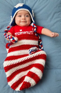 Patriotic Baby Cocoon & Hat Crochet in Red Heart Soft Solids - LW4155