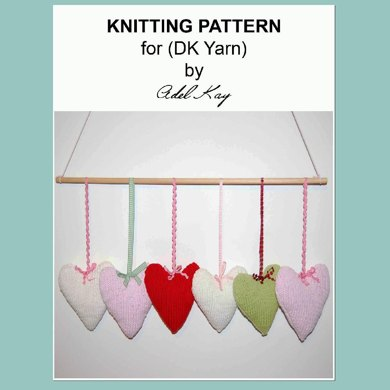 Kristie Country Cottage Shabby Chic Style 6 Heart Hanger Mobile or Pram Toy DK Yarn Knitting Pattern by Adel Kay