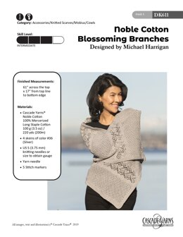 Blossoming Branches Cowl in Cascade Yarns Noble Cotton - DK611 - Downloadable PDF