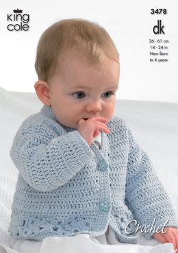 Cardigan, Hooded Gilet, Long and Short Sleeved Sweaters in King Cole DK - 3478