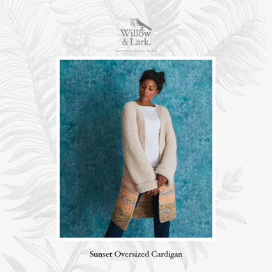 """ Sunset Oversized Cardigan "" - Cardigan Knitting Pattern For Women in Willow & Lark Poetry and Ramble by Willow & Lark"""