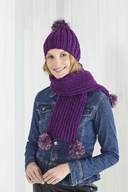 Ladies Lace hat, Tube Scarf, Hat, and 2x2 Rib Scarf in King Cole Magnum Chunky in King Cole - 5579