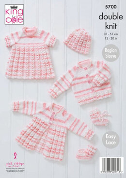 Matinee Coat, Top, Cardigan, Hat and Bootees in King Cole Baby Stripe DK - 5700 - Leaflet