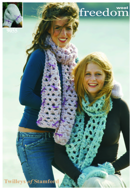 Knitted Scarf and Mittens in Twilleys Freedom Wool - 9055