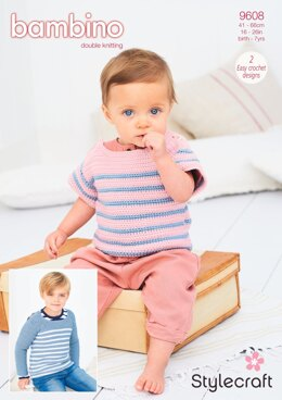Crochet Striped Top and Sweater in Stylecraft Bambino DK - 9608 - Downloadable PDF