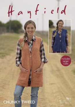 Waistcoats in Hayfield Chunky Tweed - 7811- Downloadable PDF