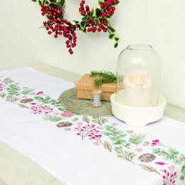 Rico Wreath with Fir Branch Table Runner Embroidery Kit - 40cm x 150cm