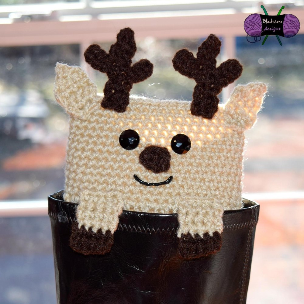 Peeping Reindeer Boot Cuffs Crochet Pattern By Sonya Blackstone