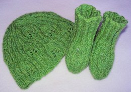 Lacy Leaves Baby Hat and Booties