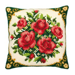 Vervaco Floral Cushion Front 3 Chunky Cross Stitch Kit - 40cm x 40cm