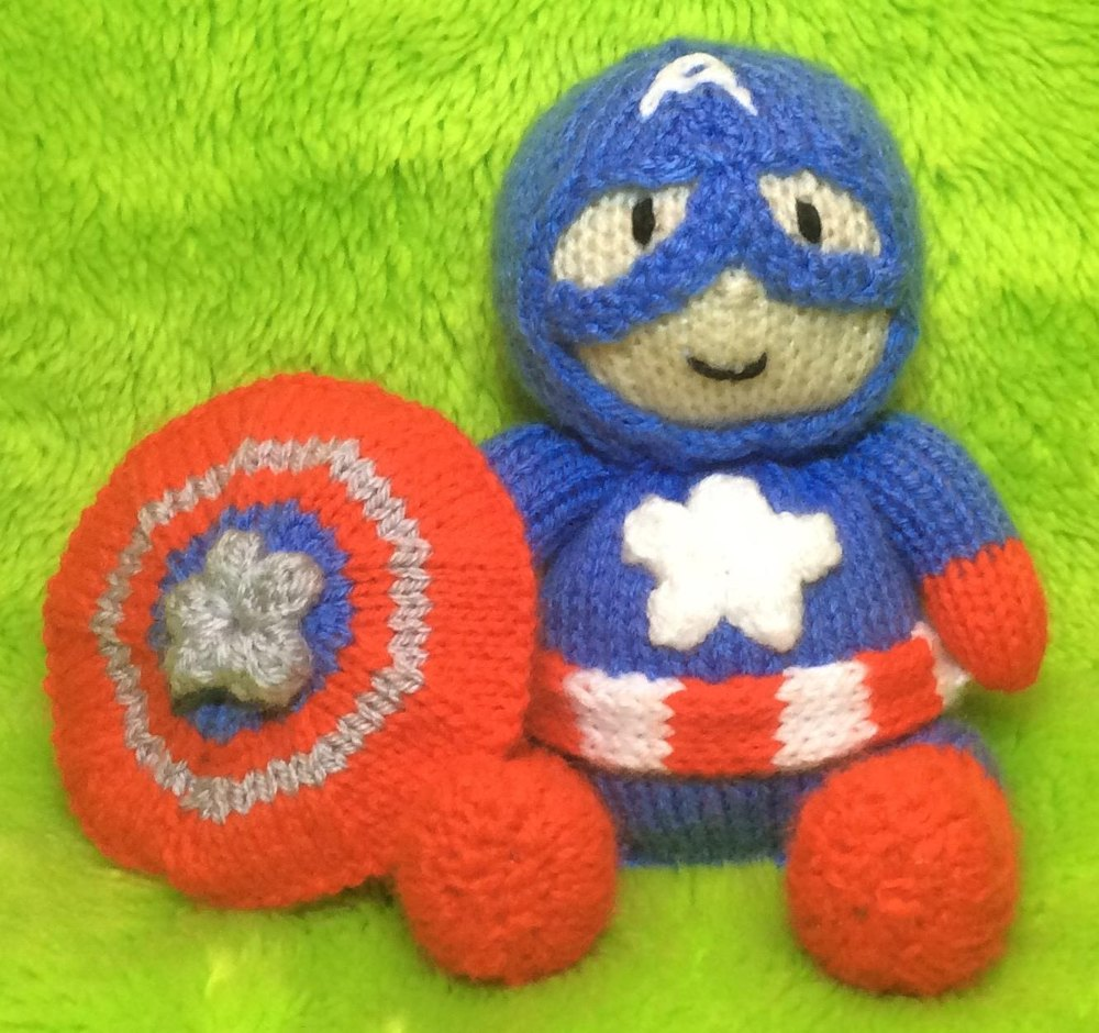 Captain America Choc Orange Cover / Toy Knitting pattern by Andrew Lucas