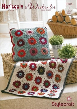 Throw/Rug & Cushion Cover in Stylecraft Weekender Super Chunky and Harlequin Chunky - 9104