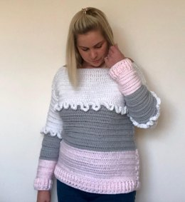 Crochet Rain Lily Colour Block Jumper