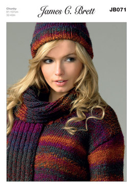 Sweater, Hat and Scarf in James C. Brett Marble Chunky - JB071